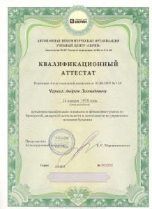 Аттестат Андрея Черных