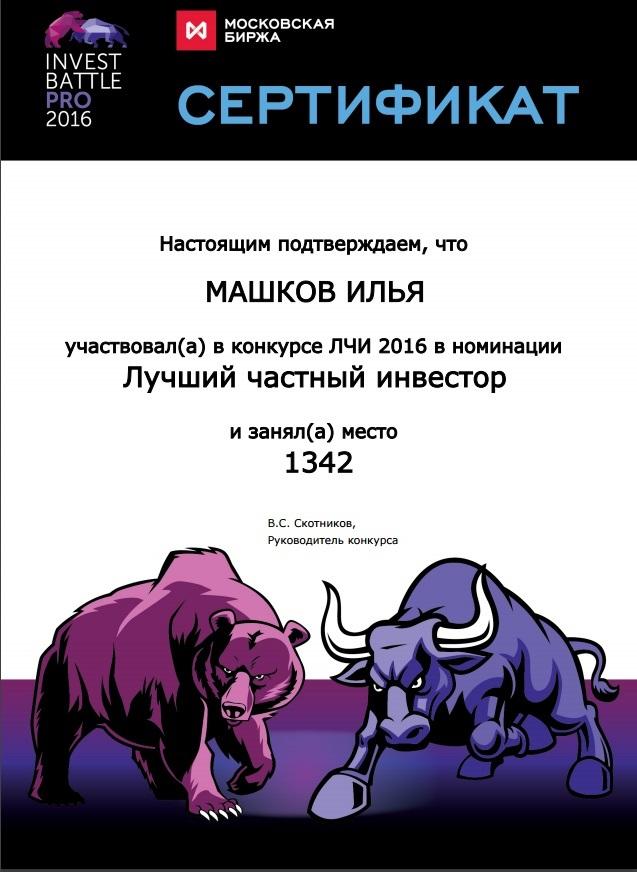 Результат Ильи Машкова более 100% годовых